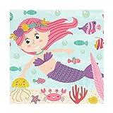 Meerjungfrau Unterwassertiere Polyester Tischsets von Wohnkultur für Esstisch Party Küchentisch 12x12 Zoll Alltag Gebrauch Mahlzeit Pad Cup Mat Set von 4