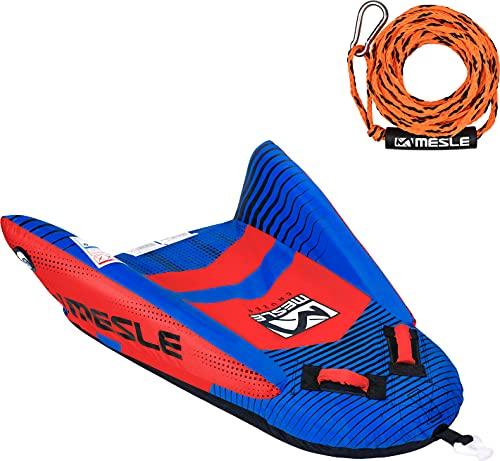 MESLE Tube Set Cruzer mit Leine, 1 Person, Towable Fun-Tube, aufblasbarer Schlepp-Reifen zum Ziehen, für Kinder & Erwachsene, Wasser-Sport Schlepp-Ring, für Motor-Boot & Jet-Ski, Farbe:blau