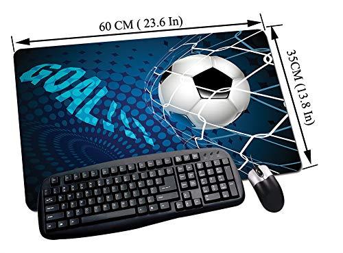 Alfombrilla Raton Gaming,Fútbol, gol de fútbol volando en el fondo de patrón de puntos abstractos netos deporte,Impermeable con base de goma antideslizante, PC y laptop comfortable mouse pad60x35 cm