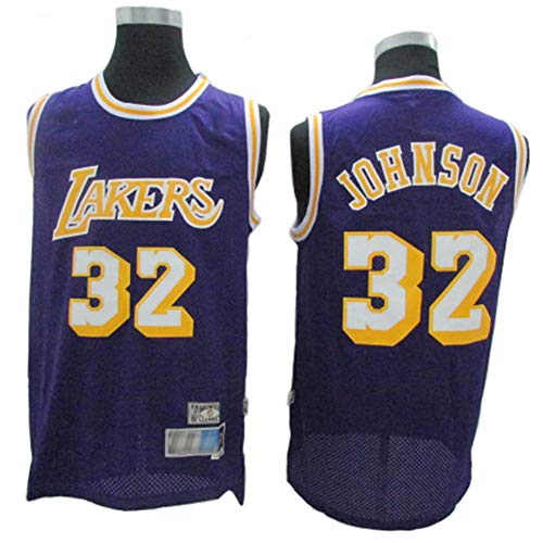 CCKWX Herren Trikot, Angeles Lakers # 32 Los Magic Johnson Vintage Trikot, Kühles, Atmungsaktives Material, Herren Trikot Damen Trikot Basketball T-Shirt,Lila,M:175cm/65~75kg