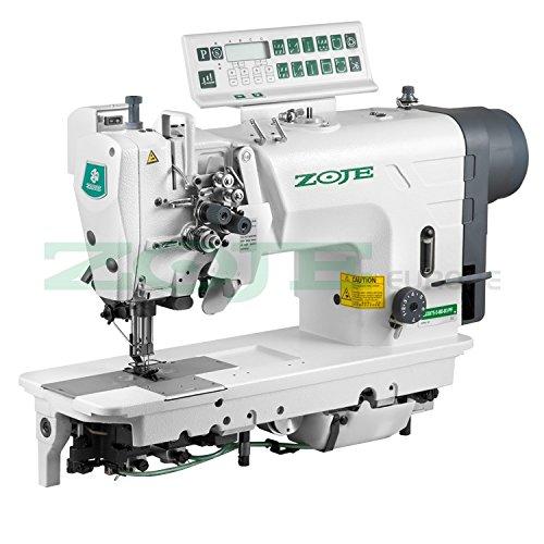 ZOJE - Máquina de coser industrial con 2 agujas, para coser industrial, tejidos más gruesos, transporte de agujas, completamente automática, industrial, completa (con mesa y soporte)
