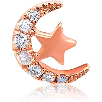 Chow Tai Fook So-in-love Collection Natural Diamonds and 18K Rose Gold Half Moon and Star Stud Earring (One Piece)