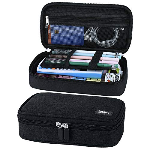 Big Capacity Pencil Case Pen Case Pencil Bag Pouch Pen Pencil Marker Holder Desk Organizer Cosmetic Makeup Bag with Large Storage for Boys Girls Middle High School & Office Supplies(Black)