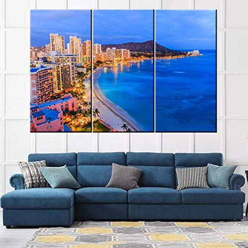 TUMOVO 3 Pieces Large Nature Hawaii Seascape Wall Art Poster Print on Canvas Skyline of Honolulu, Diamond Head Volcano Landscape Pictures for Home Decor Ready to Hang - 40'' x 20'' x 3 Panels