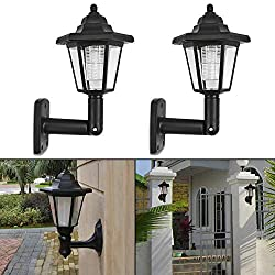 Elevin(TM)  2X Solar Power LED Light Path Way Wall Landscape Mount Garden Fence Lamp Outdoor