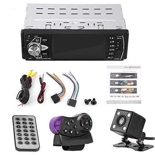 Lettore autoradio con fotocamera backcup, 4.1 pollici Tbest HD Bluetooth vivavoce Lettore MP5 video Riproduzione radio FM AUX TF Telecomando USB(Con fotocamera)