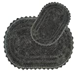 HOMEIO Oval Reversible Design Tufted Bath Mat Set Non-Slip Ringspun 100% Cotton Floor Mat Super Soft Washable Dry Fast Water Absorbent Shower Baby Bath Mat , Area Rugs (Charcoal)