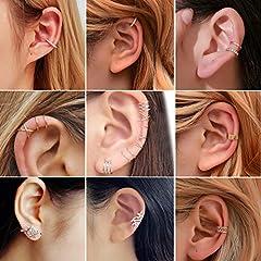 Milacolato 20Pcs Adjustable Ear Cuffs Earrings Set for Women Stainless Steel Non-Piercing Cartilage Clip On Wrap Earring Set #2