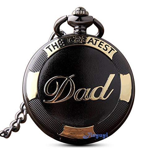 """GORBEN - Orologio da taschino vintage al quarzo con catena e portachiavi, da uomo, in confezione regalo, ideale come regalo per il papàcon scritta """"Dad"""""""