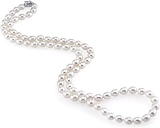 THE PEARL SOURCE 10-11mm AAA Quality Oval White Freshwater Cultured Pearl Necklace for Women