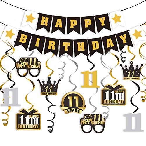 LINGTEER 11 Birthday Decorations Set - Happy 11th Birthday Party Swirls Streamers Crown Glasses Gift Box Sign | Happy Birthday Garland Banner Cheers to Eleven Years Old Birthday Party Supplies