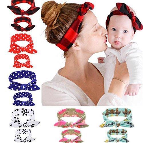 Treasure-House 3 Pairs Haarbänder Baby Haarband Headwrap Hasen Ohren Mom und Me Kleinkinder