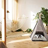 Livebest Pet Teepee Tent Portable Dog Cat Bed House with Cushion and Blackboard White Dot Style (5 Side)