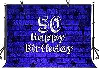 幸せな50歳の誕生日の背景9x6ft青いレンガの壁の星50年古い写真の背景パーティーバナー大人ケーキテーブルデコレーションお祝いイベント写真小道具337
