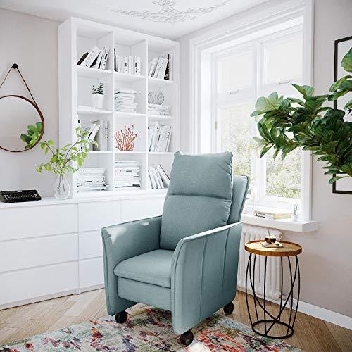 place to be. Sillón de relax pequeño XXL con función reclinable y función de dormir sobre ruedas ligeras, sillón de televisión con ruedas, color verde