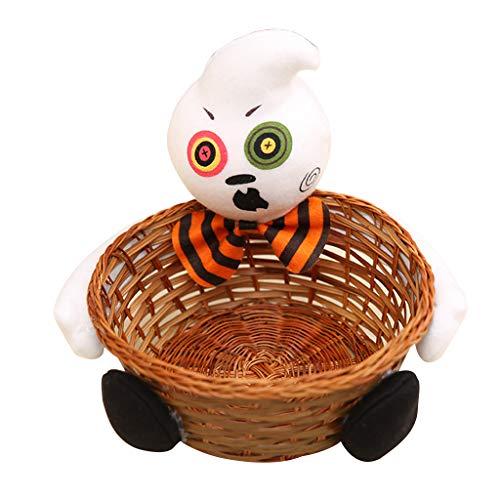Henan Aufbewahrungskorb für Halloween, Hexe, Geister, Puppe, Süßigkeiten, Bambus, Snackschale, Dekoration