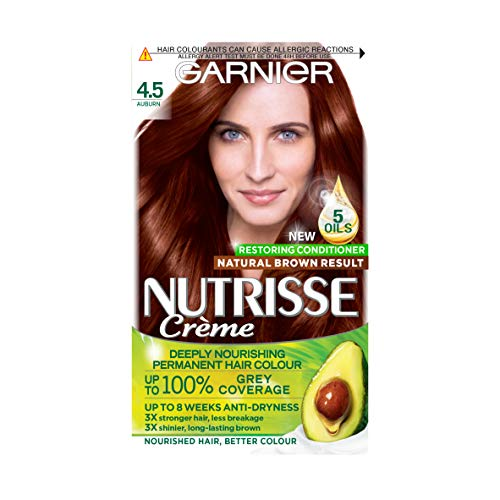 Garnier Nutrisse Brown Hair Dye Permanent, Up to 100 Percent Grey Hair Coverage, with NEW 5 Oils...