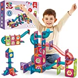 Magnetic Marble Run Building Set - 87 Piece - 3D Magnetic Tiles Ball...