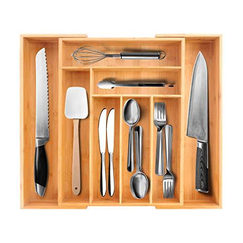 Purenjoystyle Bandeja de Cubiertos para Cajon de bambú - Organizador de cajones de cocina extensible y organizador de utensilios en el hogar, cocina, oficina (original, 8 ranuras)