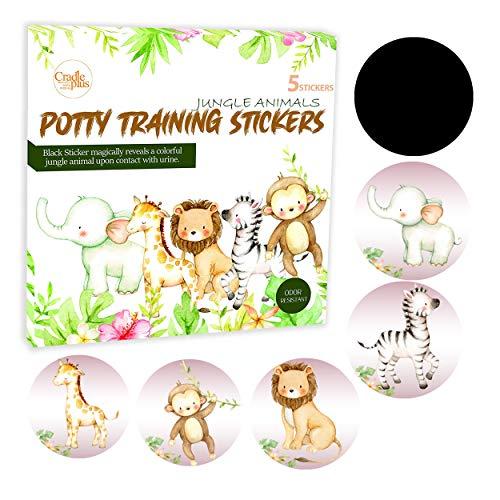 Potty Training Sedile Adesivo magico I Vasino Allenamento WC Cambiamento Colore Sticker I 5 Pack Jungle Animali Uso con o senza Potty Training Charts