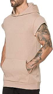 PASATO 2019New! Men's Hooded Blouse Summer Pure Color Zipper T-Shirt Sports Blouse Top Vest M-2XL