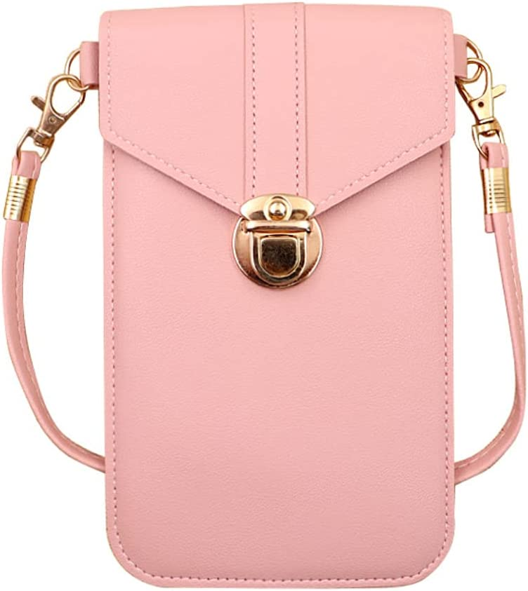 ISYSUII Crossbody Case for OnePlus 8 Wallet Case Touch Screen Cell Phone Purse with Credit Card Holder Strap Lanyard Leather Handbag Case for Women Girls,Pink