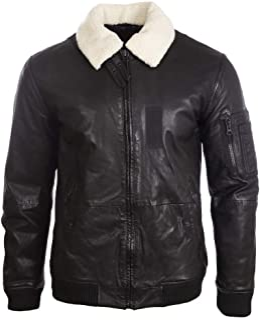 Aviatrix Men's Real Leather Pilot Aviator Fashion Bomber Jacket (6MFE)