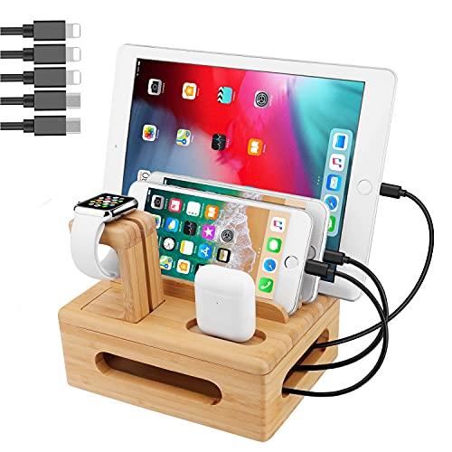 5-Port USB Ladestation Mehrfach, GENESS Abnehmbare Bambus Dockingstation für mehrere Geräte, USB Ladegerät Ständer Organizer mit Uhrenständer mit 5 USB Ladekabel für I Watch, iPhone, iPad, Tablet