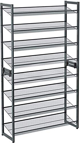 SONGMICS 8-Tier Shoe Rack, Set of 2 Stackable 4-Tier Shoe Organizers for 32 to 40 Pairs of Shoes, Adjustable Flat or Angled Shelves, Cool Gray ULMR08GB