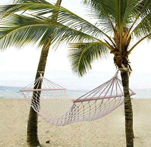Katoenen touw hangmat hangbed met spreidstok, Deluxe eenpersoons hangmat voor achtertuin, veranda, gebruik binnen en buiten, 200 * 80 cm