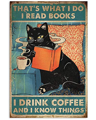 Black Cat Poster Cat That's What I Do I Read Book Drink Coffee Tea Wall Art Hanging Poster Painting Canvas Paper Photography Abstract Watercolor Living, Bedroom, Home Decor, No Frame (16'X24')