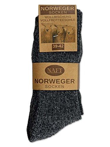 6 Paar Norweger Socken mit Wolle in Grau oder Anthrazit Herrensocken – AD220 (43-46, 6 Paar   Anthrazit) - 2