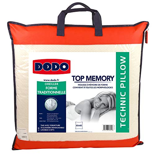 Do Wrap Performance Headwear Dodo Topmemory - Cuscino in Schiuma Memory, 60 x 60 cm, Colore: Bianco