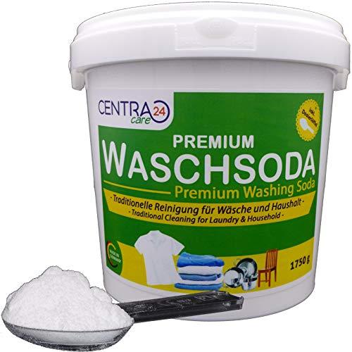 Centra24 Premium Waschsoda 1750g inkl. Dosierlöffel in Eimer, Vielzweckreiniger, Fettlöser, Garten, Haushalt, Bad und Küche, Geruchsentferner, calziniertes Soda, Natriumcarbonat, NA2CO3