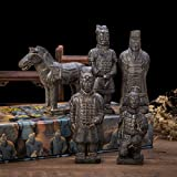 THY COLLECTIBLES Set of 5 Antique Reproduction Qin Dynasty Terra Cotta Warrior Collectible Statuette Miniature Black