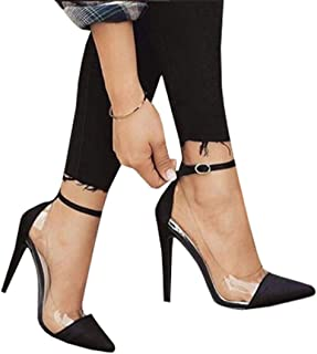 Womens Clear Heels Pointed Toe Ankle Strap Pumps Thin High Heeled Stiletto Shoes