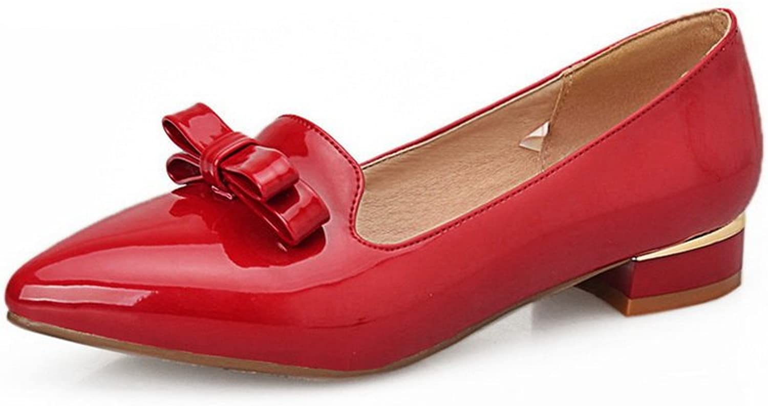 AdeeSu Womens Casual Oxford Loafers-shoes Red Urethane Pumps shoes SDC03573CA - 5.5 B(M) US