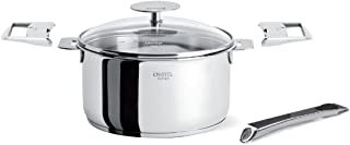 Cristel C14QMPKPPA Casteline Set with 1 qt Saucepan with Lid, long handle and 2 grips (5 Piece), Silver