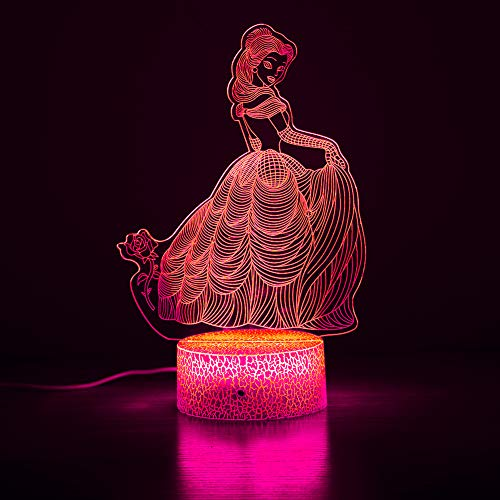 3D Prinzessin Nachtlicht, Mädchen Schlafzimmer Dekoration Licht, 16 Farben per Touch und Fernbedienung gesteuert, geeignet für Geburtstag und Weihnachtsgeschenke für Mädchen im Alter von 4-10