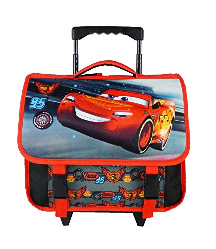 Bagtrotter Cars Bagage Enfant, 38 cm, Noir Et Rouge