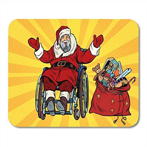 Mauspads Rot Barrierefreiheit deaktiviert Der Weihnachtsmann befindet sich im Rollstuhl-Weihnachts-Mauspad für Notebooks, Desktop-Computer-Matten, Bürobedarf