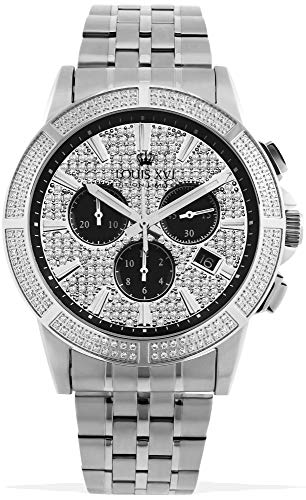 LOUIS XVI Majesté Iced Out 1038 - Reloj de pulsera para hombre, correa de acero inoxidable con diamantes de circonita cúbica, cronógrafo, analógico, cuarzo, acero inoxidable