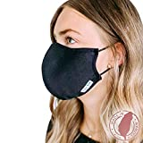 Shero 4-Layer Copper-Infused Reusable Face Mask with Nose Wire, Washable and Breathable Filtered Face Mask, 2-Pack (Black, XL)