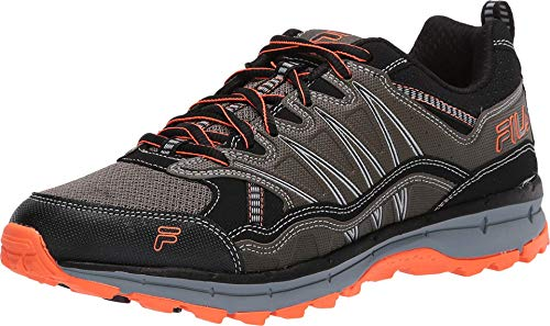 Fila mens Fila Evergrand Men's Trail Hiking Shoe, Tarmac/Black/Shocking Orange, 13 US