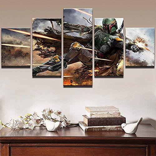45Tdfc Decoracion Salon Modernos 5 Piezas Lienzo Grandes murales Pared hogar Pasillo Decor Arte Pared Cuadro Star Wars Boba Fett Bounty Hunter Fotos HD Impresión Carteles Innovador Regalo