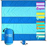 Aquatus Beach Blanket Sandproof Extra Large Oversized 10ft by 9ft for 2-8 Adults, Best Beach Mat Accessories for Vacation, Camping, Picnics, and Events Attached Bag with 4 Stakes and 4 Corner Pockets