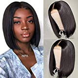 Luxnovolex Wigs Brazilian Straight Glueless Lace Front Human Hair Wig Pre Plucked with Baby Hair Straight Wave Short Wig for Black Women (08 inch, Straight Wave Wig)
