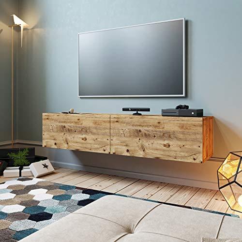 Yurupa TV Board hängend Lowboard Hängeschrank Hängeboard Wohnwand Holzoptik FR10-A