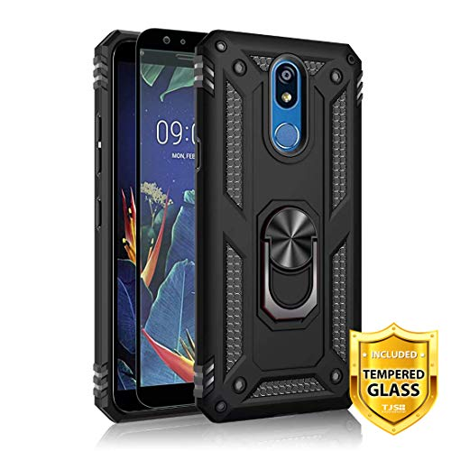 TJS Phone Case for LG Stylo 5/LG Stylo 5 Plus/LG Stylo 5V, with [Full Coverage Tempered Glass Screen Protector][Impact Resistant][Defender][Metal Ring][Magnetic Support] Heavy Duty Armor Cover (Black)