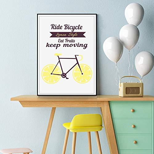 Wleyy Kunstlinnen fiets, illustratie, kunst, foto, citroen, inspiratie doek, voor huis, keuken